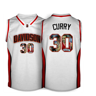 Davidson Wildcat 30 Stephen Curry White With Portrait Print College Basketball Jersey2