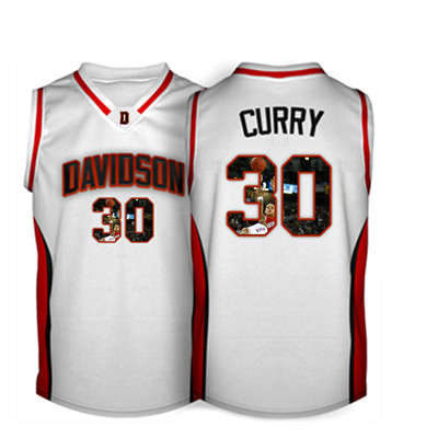 Davidson Wildcat 30 Stephen Curry White With Portrait Print College Basketball Jersey3