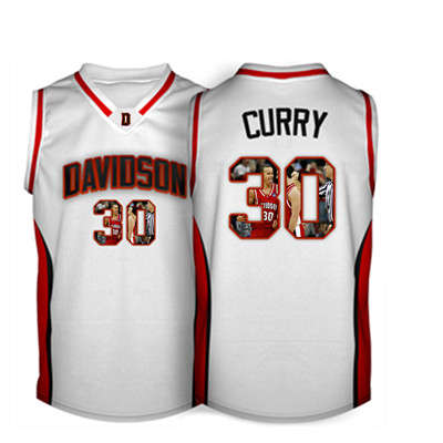 Davidson Wildcat 30 Stephen Curry White With Portrait Print College Basketball Jersey4
