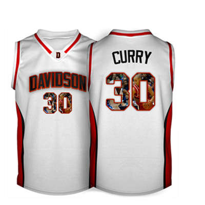 Davidson Wildcat 30 Stephen Curry White With Portrait Print College Basketball Jersey5