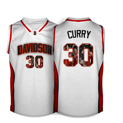 Davidson Wildcat 30 Stephen Curry White With Portrait Print College Basketball Jersey6