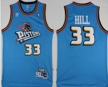 Detroit Pistons #33 Grant Hill Blue Hardwood Classics Jersey