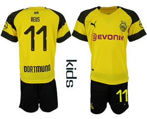 Dortmund #11 Reus Home Kid Soccer Club Jersey