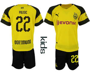 Dortmund #22 Pulisic Home Kid Soccer Club Jersey