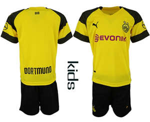 Dortmund Blank Home Kid Soccer Club Jersey