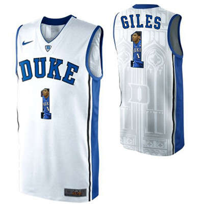 Duke Blue Devils 1 Harry Giles White With Portrait Print College Basketball Jersey