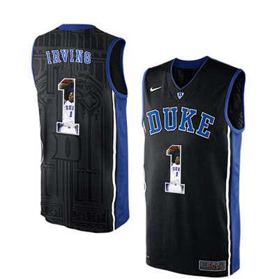 Duke Blue Devils 1 Kyrie Irving Black With Portrait Print College Basketball Jersey2