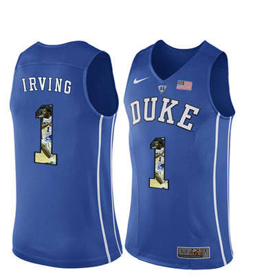 Duke Blue Devils 1 Kyrie Irving Blue With Portrait Print College Basketball Jersey3
