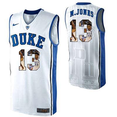 Duke Blue Devils 13 Matt Jones White With Portrait Print College Basketball Jersey