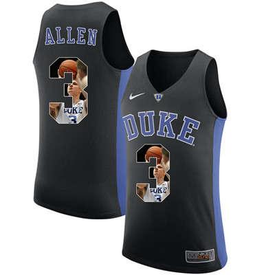 Duke Blue Devils 3 Grayson Allen Black With Portrait Print College Basketball Jersey2