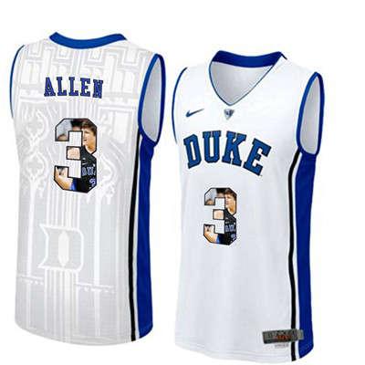 Duke Blue Devils 3 Grayson Allen White With Portrait Print College Basketball Jersey3