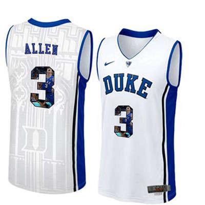 Duke Blue Devils 3 Grayson Allen White With Portrait Print College Basketball Jersey4