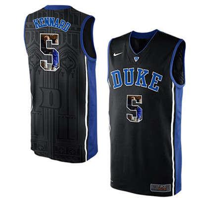 Duke Blue Devils 5 Luke Kennard Black With Portrait Print College Basketball Jersey
