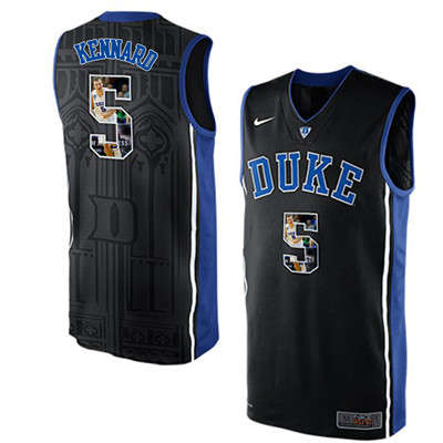 Duke Blue Devils 5 Luke Kennard Black With Portrait Print College Basketball Jersey2