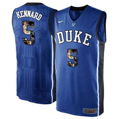 Duke Blue Devils 5 Luke Kennard Blue With Portrait Print College Basketball Jersey