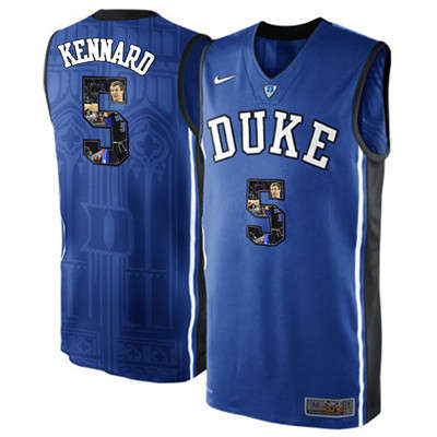 Duke Blue Devils 5 Luke Kennard Blue With Portrait Print College Basketball Jersey2