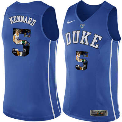 Duke Blue Devils 5 Luke Kennard Blue With Portrait Print College Basketball Jersey3