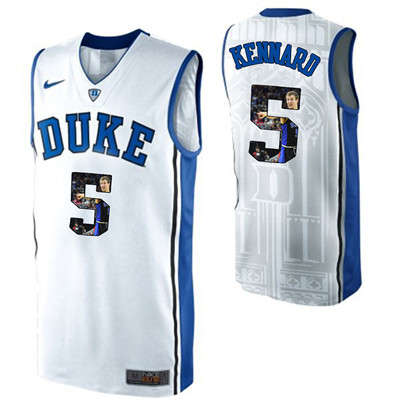 Duke Blue Devils 5 Luke Kennard White With Portrait Print College Basketball Jersey2