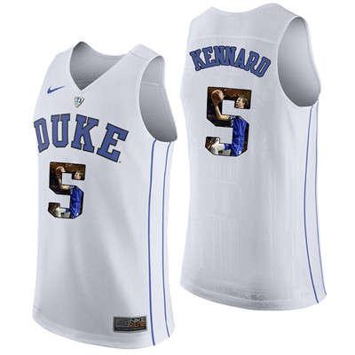 Duke Blue Devils 5 Luke Kennard White With Portrait Print College Basketball Jersey3