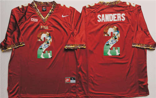 Florida State Seminoles #2 Deion Sanders Red Portrait Number NCAA College Football Jersey
