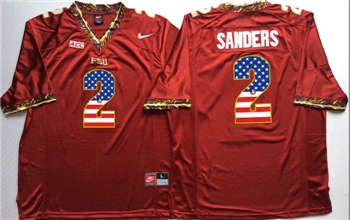 Florida State Seminoles #2 Deion Sanders Red USA Flag College Jersey
