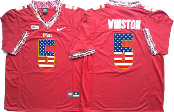 Florida State Seminoles #5 Jameis Winston Red USA Flag College Jersey