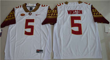 Florida State Seminoles #5 Jameis Winston White College Football Jersey
