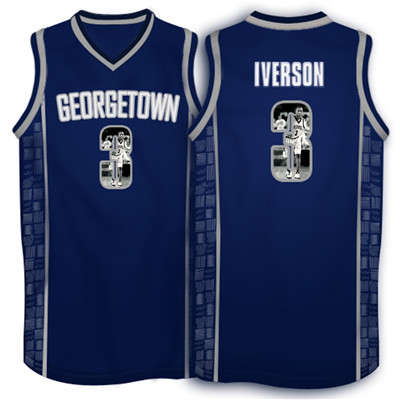Georgetown Hoyas 3 Allen Iverson Navy 1996 Throwback With Portrait Print College Basketball Jersey