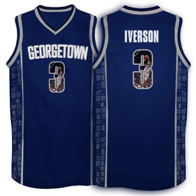Georgetown Hoyas 3 Allen Iverson Navy 1996 Throwback With Portrait Print College Basketball Jersey2