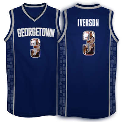 Georgetown Hoyas 3 Allen Iverson Navy 1996 Throwback With Portrait Print College Basketball Jersey3