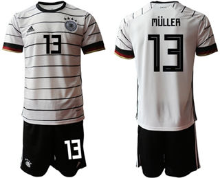 Germany #13 Muller White Home Soccer Country Jersey