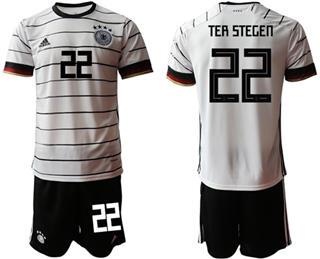 Germany #22 Ter Stegen White Home Soccer Country Jersey