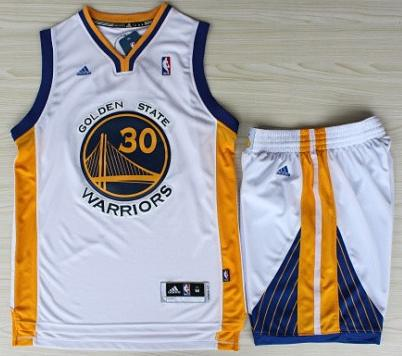 Golden State Warriors 30 Stephen Curry White Revolution 30 Swingman Jerseys Shorts Basketball Suits