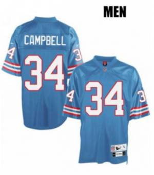Houston Oilers #34 Earl Campbell LT.Blue Men's Football Throwback Jersey