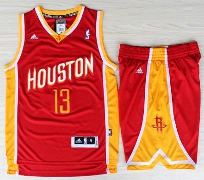 Houston Rockets 13 James Harden Red Throwback Revolution 30 Swingman Jerseys Shorts Basketball Suits