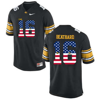 Iowa Hawkeyes 16 C.J Beathard Black USA Flag College Football Limited Jersey