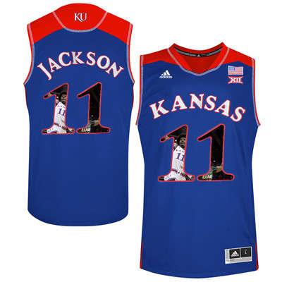 Kansas Jayhawks 11 Josh Jackson Blue With Portrait Print College Basketball Jersey