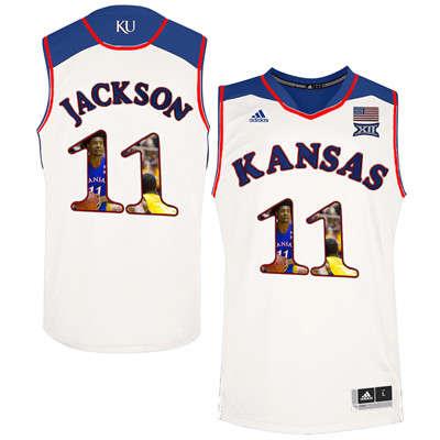 Kansas Jayhawks 11 Josh Jackson White With Portrait Print College Basketball Jersey