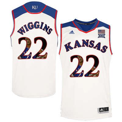 Kansas Jayhawks 22 Andrew Wiggins White With Portrait Print College Basketball Jersey2