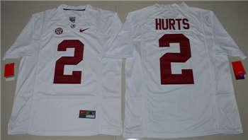 Kids Alabama Crimson Tide #2 Jalen Hurts White College Football Jersey