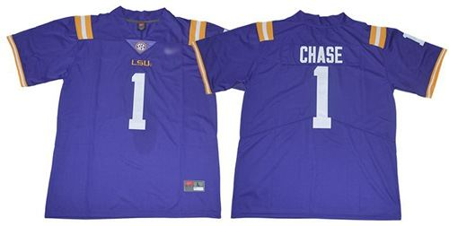 LSU Tigers #1 Ja'Marr Chase Purple Limited Stitched College Football Jersey