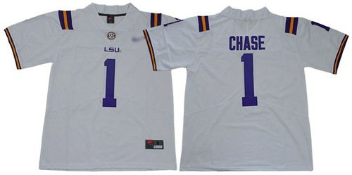 LSU Tigers #1 Ja'Marr Chase White Limited Stitched College Football Jersey