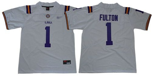 LSU Tigers #1 Kristian Fulton White Limited Stitched College Football Jersey