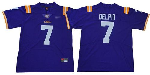 LSU Tigers #7 Grant Delpit Purple Limited Stitched College Football Jersey