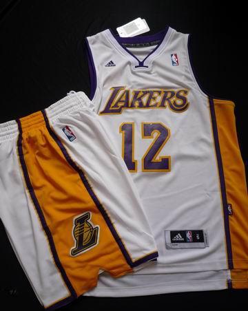 Los Angeles Lakers 12# Dwight Howard White Revolution 30 Swingman Basketball Jersey & Shorts Suit