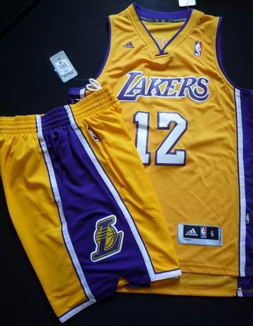 Los Angeles Lakers 12# Dwight Howard Yellow Revolution 30 Swingman Basketball Jersey & Shorts Suit