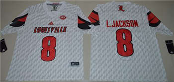 Louisville Cardinals #8 Lamar Jackson White AAC Patch Stitched NCAA Jersey