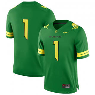 Men's 2019 Oregon Ducks #1 Oregon Ducks Football Game Jersey Apple Green