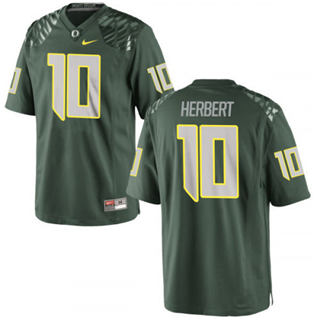 Men's 2019 Oregon Ducks #10 Justin Herbert Jersey Green College Football 19-20