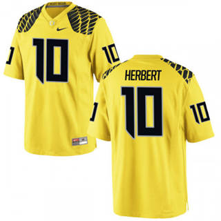 Men's 2019 Oregon Ducks #10 Justin Herbert Jersey Yellow College Football 19-20